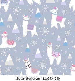 Christmas seamless pattern with lama