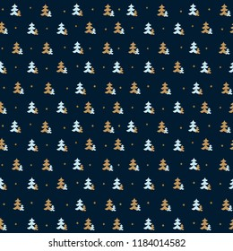 christmas seamless pattern. new year hand drown firs wrapping paper design, winter holiday decoration, modern background