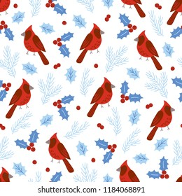 Christmas seamless pattern with northern cardinals, birds, fir branches, berries and holly on white background. Perfect for holiday invitations, winter greeting cards, wallpaper and gift paper