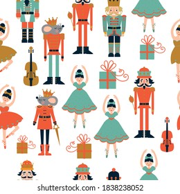 Christmas seamless pattern with nutckracers, ballerins, mouse king, violin. Vector illustration.