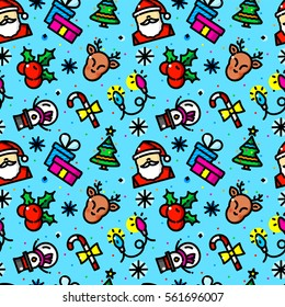 Christmas seamless pattern with objects in line style, New Year vector illustration