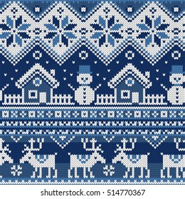 Christmas Seamless pattern with ornaments of a Jacquard knitting. Image of a house, snowman, moose, star, snowflake on a blue background. Vector illustration.