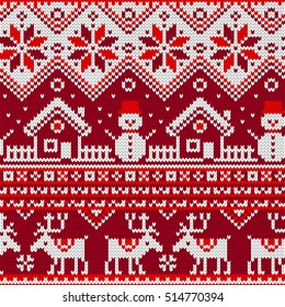 Christmas Seamless pattern with ornaments of a Jacquard knitting. Image of a house, snowman, moose, star, snowflake on a red background. Vector illustration.