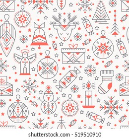 Christmas seamless pattern with outlined holiday and winter signs. Black and red color palette. Minimalistic design layout. Creative tribal line style background