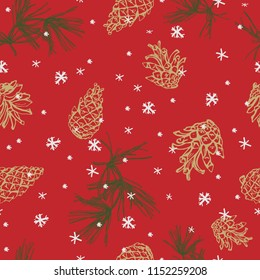 Christmas seamless pattern of pine branches and cones.