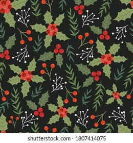 Christmas seamless pattern with Pine tree.Holiday background.