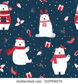 Christmas seamless pattern with polar bear background, Winter pattern with holly berry, wrapping paper, pattern fills, winter greetings, web page background, Christmas and New Year greeting cards