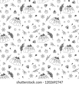 Christmas seamless pattern with pudding. Christmas wrapping paper texture. Happy Hew Year Wallpaper. Fabric print. Black and White Ink Ilustration. Retro Style.