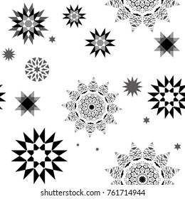 Christmas seamless pattern with random black and white falling snowflakes isolated on white