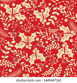 Christmas seamless pattern in red and beige with holly leaves and berries for greeting cards, wrapping papers. Vector illustration.