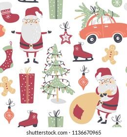 Christmas seamless pattern with Santa Claus, socks, car, christmas tree and gifts on white background. Vector illustration.
