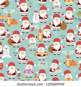 Christmas seamless pattern with santa claus, reindeer, bear and gifts, vector illustration