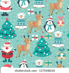 Christmas seamless pattern with Santa, deer, tree, polar bear, penguin. Vector illustration.