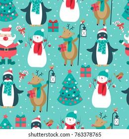 Christmas seamless pattern with Santa, deer, bird, penguin, tree and snowman. Vector illustration.