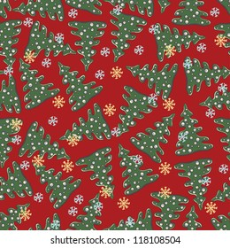 Christmas seamless pattern with snowflakes, fir trees and decoratiions