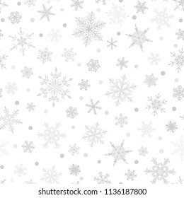Christmas seamless pattern of snowflakes, gray on white background.
