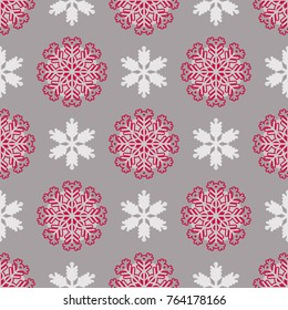 Christmas seamless pattern with  snowflakes. Unique  christmas design.Perfect for greeting cards, wallpaper, gift paper, web page background, winter decorations.
