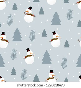 Christmas seamless pattern with snowman and Pine trees.Vector illustration.