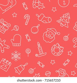 Christmas seamless pattern. Tiling textures with thin line icon set