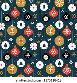 Christmas seamless pattern with toys. Scandinavian style. Vector illustration