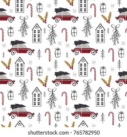 Christmas seamless pattern with tree, car, house, mistletoe in black, red and white palette. Scandinavian style. Vector illustration
