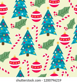 Christmas seamless pattern with Christmas trees, candy canes, globes and mistletoe for Christmas background,  wrapping paper, print. Vector