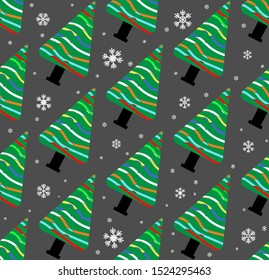 Christmas seamless pattern with trees and snow