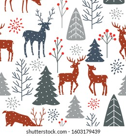 Christmas seamless pattern with trees, spruces, reindeer on white background. Vector illustration.