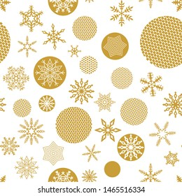 Christmas seamless pattern with trendy Golden snowflakes and faceted christmas tree balls on a white background. Simple geometric shapes retro design wallpaper, wrapping paper