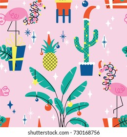 Christmas seamless pattern with tropical plants and flamingos in hats