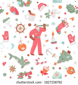 Christmas seamless pattern with uncommon Christmas elements such as orca whale in a Santa's hat, compass, boat, anchor, steering wheel, chevrons