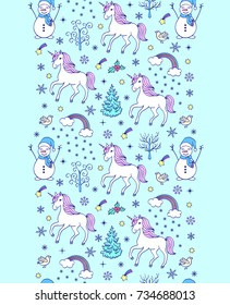 Christmas seamless pattern with unicorns and other elements on white background.Vector illustration