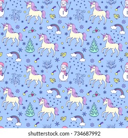 Christmas seamless pattern with unicorns,snowmen and other elements on white background.Vector illustration