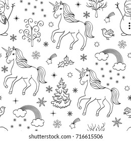 Christmas seamless pattern with unicorns,trees,birds,snowmen on white background.coloring page for kids and adult. vector illustration.