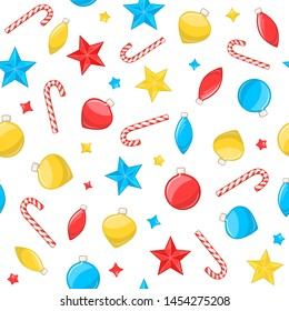 Christmas seamless pattern. Vector background with christmas balls, stars and candy canes on white backdrop. New year decorative ornament