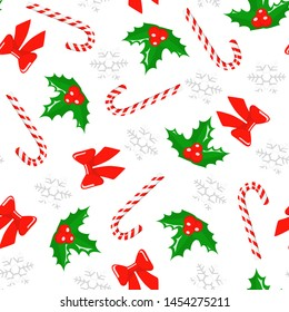 Christmas seamless pattern. Vector background with christmas berry, candy cane, red bows and snowflakes. New Year decoration