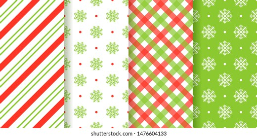 Christmas seamless pattern. Vector. Holiday background. Xmas, New year endless texture wrapping paper with snowflake, candy cane stripe, plaid. Festive geometric textile print. Red green illustration