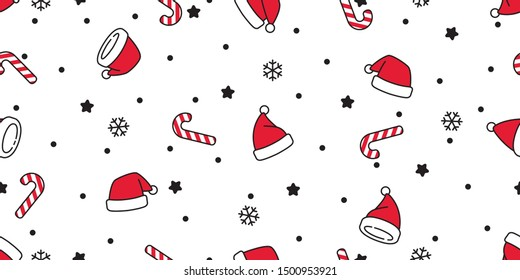 Christmas seamless pattern vector Santa Claus hat snow candy cane snowflake scarf isolated repeat wallpaper tile background gift wrap paper doodle design