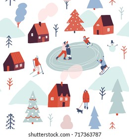 Christmas seamless pattern in vector. Winter season illustration with people are skiing, ice skating, sledding.