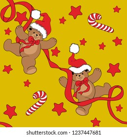 Christmas Seamless Pattern Vintage Background bears and candy