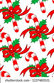 Christmas Seamless Pattern Vintage Background candy canes