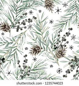 Christmas seamless pattern, white background. Green pine twigs, cones, berries. Vector illustration. Nature design. Season greeting digital paper. Winter Xmas holidays