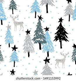 Christmas seamless pattern, white background with stars. Forest deer, fir, spruce trees. Vector illustration. Nature design. Season greeting. Winter Xmas holidays. Cute woodland animals