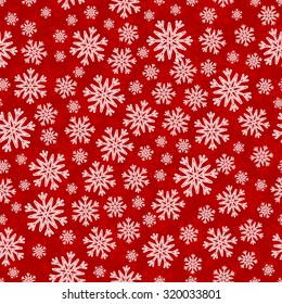 Christmas seamless pattern with white red snowflakes and layer substrate over red
