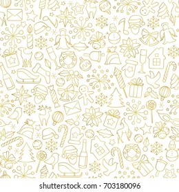 Christmas seamless pattern from winter holiday objects.  White vector background with golden line art icons.
