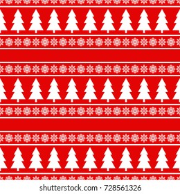 Christmas seamless pattern. Winter holiday background with christmas tree and snowflakes