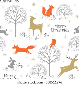Christmas seamless pattern with woodland animals, trees and gold stars.