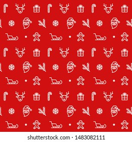 Christmas seamless pattern. Xmas icons on red background. Winter holydays vector illustration. New Year's decor.