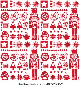 Christmas seamless red pattern with nutcracker - folk art style