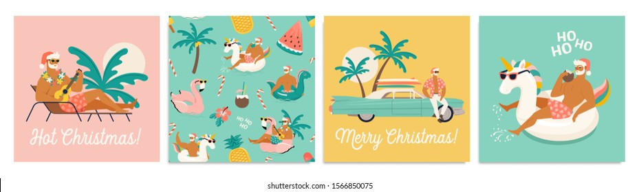 Christmas seamless set of card and pattern with cute funny sexy Santa Claus with unicorn and flamingo inflatable ring. Tropical Christmas. Vector illustration.